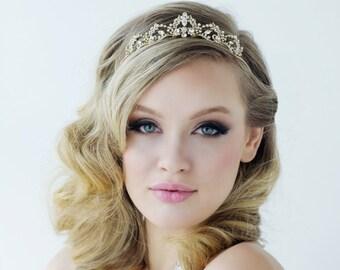Stunning Crystal Embellished Bridal Tiara, Wedding Tiara, Bridal Accessories, 14k Gold or Silver Tiara, Brides, Bridesmaid, Lavina