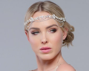 Beautiful Luxury Bejewelled Gatsby Style Headpiece, Bridal Accessories, Bridesmaid Hair, Bridal Headpiece,  Crystal & Pearl