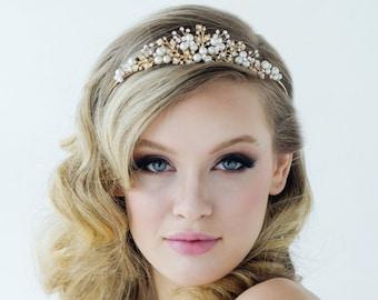 Luxe Pearl Bridal Tiara, Wedding Tiara, Bridal Accessories, Rose Gold, Silver or Gold Tiara, Brides, Bridesmaid, Tess