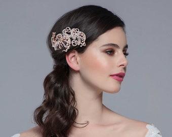 Vintage Extravagance Headpiece, Bridal Accessories, Bridesmaid Hair, Bridal Headpiece, Silver or Rose Gold