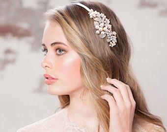 Vintage Bloom Headband, Pearl, Crystal , Floral Headband, Bridal Accessories, Bridesmaid Hair, Bridal Headband, Silver or Rose Gold