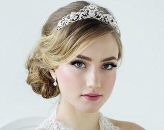 Bridal Tiara, Wedding Tiara, Bridal Accessories, Rose Gold or Silver Tiara, Brides, Bridesmaid, Davina