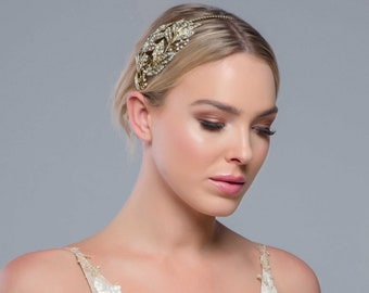 Beautiful Opulance Gold Bejewelled Headband, Bridal Accessories, Bridesmaid Hair, Bridal Headband, Antique Gold