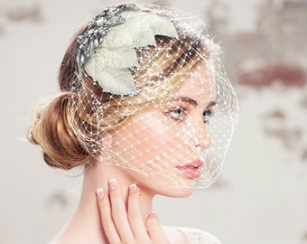 Regal Luxe Birdcage Veil, Ivory Silver Birdcage Veil, Crystal Embellished Birdcage Veil, Bridal Accessories, Bridal Hair