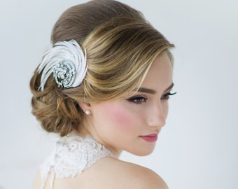 Beautiful Feather Luxe Headpiece, Bridal Accessories, Bridesmaid Hair, Bridal Headpiece, Silver or Rose Gold