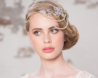 Beautiful Statement Bejewelled Brow Band, Forehead Headband, Bridal Accessories, Bridesmaid Hair, Bridal Headband