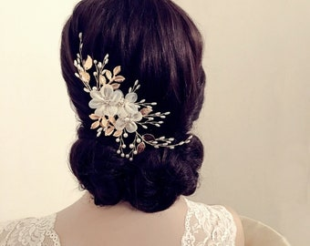 Beautiful Floral Enchantment Headpiece, Bridal Accessories, Bridesmaid Hair, Bridal Headpiece, Silver or Gold