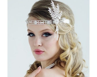 Beautiful Luxe Gatsby Style Headband, Bridal Accessories, Bridesmaid Hair, Bridal Headpiece, 1920's