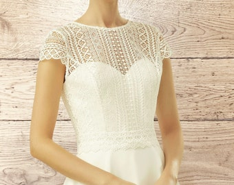 Beautiful Lace Bolero - Wedding Dress Cover Up, Bridal Accessories,  Stunning Lace Cover Up, Bridal Top, Short Sleeve Lace Top