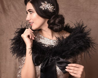 Black Ostrich Feather Stole - Beautiful High Quality Luxury Shrug, Wrap