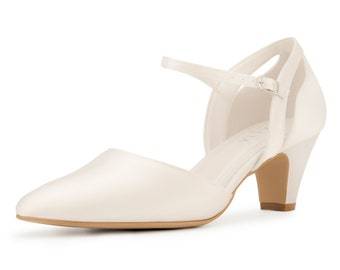 Ivory Satin Bridal Shoes, Classic Brides Shoes, Cut Out Decoration, Low Heel, Extra Comfort Wedding Shoes, Bridal Accessories