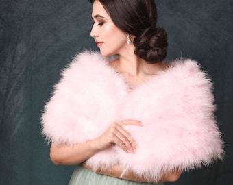 Baby Pink, Light Pink, Candy Floss Pink Marabou Feather Wrap - Beautiful Vintage Inspired Shrug, Stole