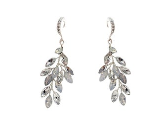 Chic Vine Earrings, Available in Silver or Opal, Wedding Jewellery, Bridal Accessories