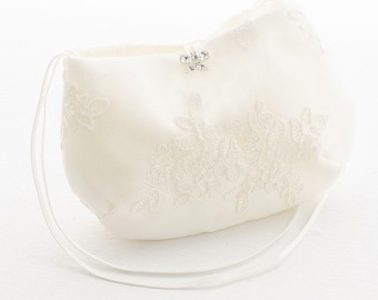 Beautiful Classic Bridal Lace Clutch Bag, Bridal Bag, Wedding Bag Ivory Deluxe Party or Event Clutch Bag