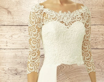 Boat Neck Floral Swirl Lace Bolero - Wedding Dress Cover Up, Bridal Accessories,  Ivory Lace Shrug, Bridal Top, Ivory Lace Bridal Top