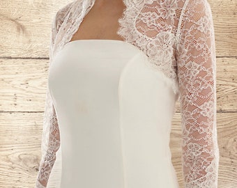Beautiful French Lace Bolero - Wedding Dress Cover Up Accessories,  Ivory French Lace Shrug