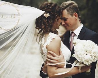"32"" Genuine Swarovski Bridal Veil,  Pencil (Corded) Edge - 2 Layered Diamond Tulle Veil,  32 inches, 82 cm - Ivory or white, Waist Length"