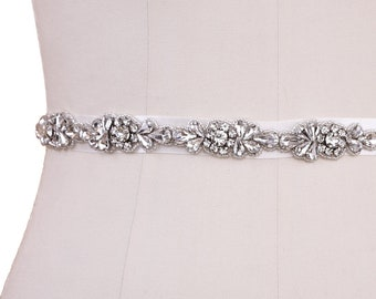 Beautiful Bridal Belt, Vintage Inspired Belt,  Wedding Dress Belt, Ivory Silver Bridal Belt