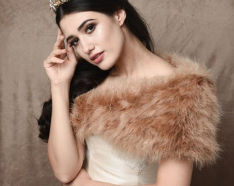 Caramel Brown Marabou Feather Stole - Beautiful Vintage Inspired Shrug, Wrap