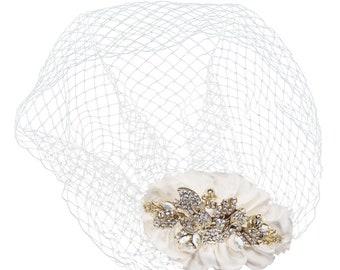 Vintage Luxe Birdcage Veil, Ivory Gold Birdcage Veil, Satin & Crystal Embellished Birdcage Veil, Bridal Accessories, Bridal Hair