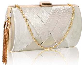 Beautiful Tassel Detail Clutch Bag, Bridal Bag, Wedding Bag, Deluxe Party or Event Clutch Bag