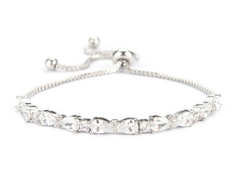 Gorgeous Chic CZ Adjustable Bracelet, Available in Silver, Rose Gold or Gold Bridal Accessories, Wedding Jewellery