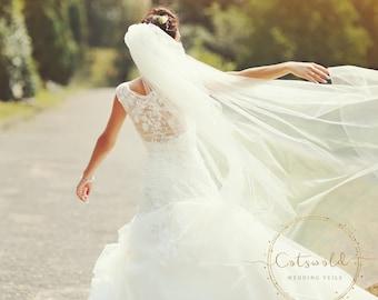 "91"" Genuine Swarovski Bridal Wedding Veil,  Corded Edge - 2 Layered Diamond Tulle Veil,  91 inches, 230 cm - Ivory or white, Chapel Length"