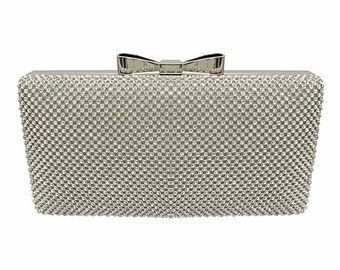 Beautiful Crystal Bow Clutch Bag, Bridal Bag, Wedding Bag,  Gold, Silver or Black Deluxe Party or Event Bag, Accessories