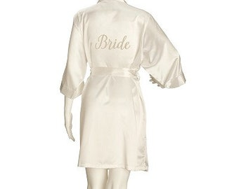 Beautiful Bride Robe,  Wedding Bridal Robe, Bridal Cover Up, Brides, Satin Ivory Robe - Bridesmaid & Maid of Honour also available - L / XL