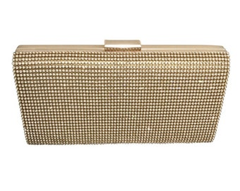 Beautiful Crystal Elegance Evening Clutch Bag, Bridal Bag, Wedding Bag,  Gold or Silver Deluxe Party or Event Bag, Accessories