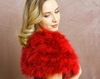 Red Marabou Feather Stole - Beautiful Vintage Inspired Shrug, Wrap