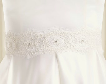Satin & Lace Crystal Bridal Belt, Lace Belt with Embellishment Crystal Belt,  Wedding Dress Belt, Sash Ivory