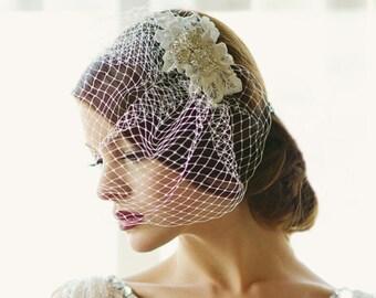 Couture Birdcage Veil, Ivory Silver Birdcage Veil
