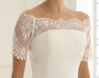 Beautiful Lace Bolero - Wedding Dress Cover Up Accessories,  Ivory French Lace