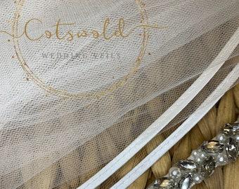 "Chapel Length,  Satin Edge Wedding Veil - Gorgeous Single Layer Soft Tulle Veil, 98"",  250 cm - Ivory Veil"