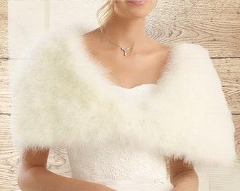 Marabou Feather Cape, Wedding Bolero, Bridal Cover Up, Brides, Bridesmaid, Ivory or White Feather Bolero