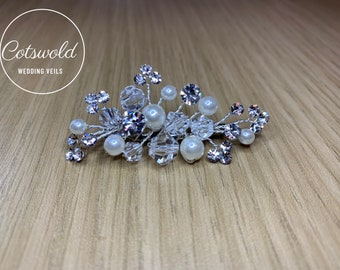 Beautiful Crystal & Pearl Train Pin, Wedding Dress Train Pin, Floral, Pearl Dress Pin, Bridal Gown Clip