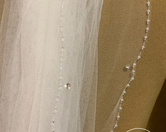 "118"" Swarovski Crystal Wedding Veil,  Beaded Edge & Rhinestone Single Layer Tulle Veil, 118 inches, 300 cm - Ivory Veil, Cathedral Length"