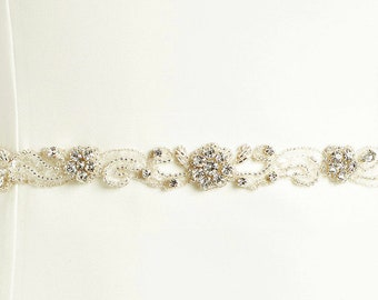Beautiful Sparkling Crystal & Pearl Bridal Belt, Pearl and Crystal Embellishment,  Wedding Dress Belt, Ivory