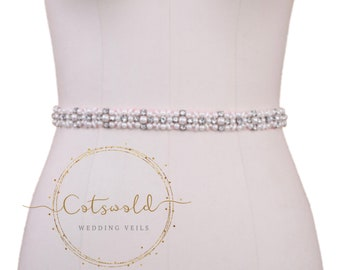Dainty Daisy Rose Pink Bridal Belt, Wedding Dress Belt, Pink Crystal & Pearl Bridal Belt