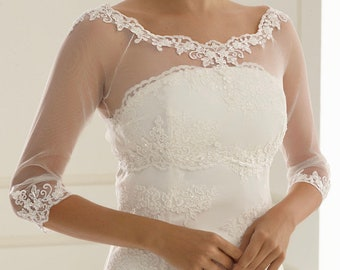 Beautiful Stretch Tulle & Lace Bolero - Wedding Dress Cover Up Accessories,  Ivory Lace