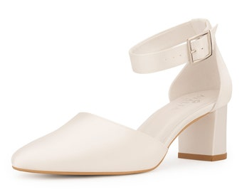 Stunning Bridal Shoes, Ivory Satin Brides Shoes, Mid Heel , Thick Ankle Strap Classic, Simple Extra Comfort Bridal Shoes, Bridal Accessories
