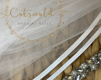 "118"" Wedding Veil,  Satin Edge, Single Layer Soft Tulle Veil with Genuine Swarovski Crystals, 118"", 300 cm - Ivory Cathedral Length Veil"