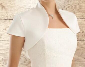 Beautiful Matte Satin Bolero - Wedding Dress Cover Up Accessories,  Ivory Satin Shrug