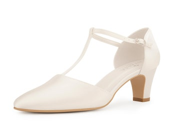 Beautiful Bridal Shoes, Ivory Satin Brides Shoes, T Bar, Low Heel, Extra Comfort Wedding Shoes, Bridal Accessories