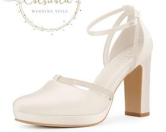 Beautiful Bridal Shoes, Ivory Satin & Glitter Brides Shoes, T Bar, High Heel, Platform Bridal Shoes, Block Heel, Extra Comfort