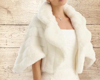 Stunning Faux Fur Jacket, Fur Bolero,  Wedding Shrug, Bridal Cover Up, Brides, Bridesmaid, Ivory Faux Fur Wedding Jacket, 3/4 Sleeves, Cape