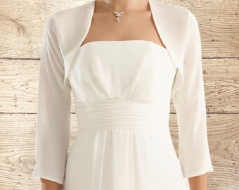Beautiful Long Sleeve Chiffon Bolero Top - Wedding Accessories, Wedding Cover Up, Chiffon Bridal Bolero, Bridal Jacket, White or Ivory