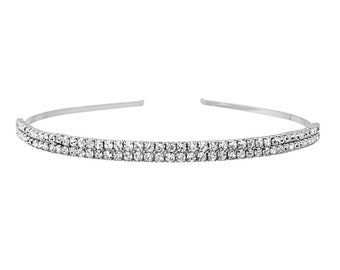 Beautiful Two Row Crystal Headband,  Silver or Rose Gold Bridal Accessories, Bridesmaid Hair