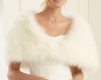 Marabou Feather Cape, Wedding Bolero, Bridal Cover Up, Brides, Bridesmaid, Ivory or White Feather Bolero
